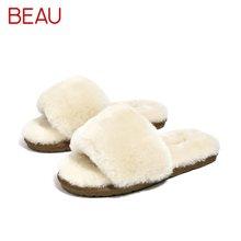 BEAU 秋冬羊毛拖鞋休闲羊皮毛一体居家保暖平跟软底拖鞋女37005