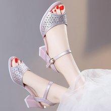 古奇天伦 2017新款正品女鞋鱼嘴粗跟高跟鞋百搭韩版一字扣带凉鞋 TL/8687