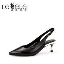 LESELE/莱思丽夏季新款羊皮女鞋子 尖头细跟职业鞋搭扣凉鞋女HJ71-LB5340