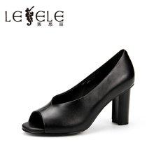 LESELE/莱思丽春夏简约牛皮女鞋子 新款纯色鱼嘴粗高跟浅口单鞋YM71-LE5272