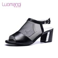 洛曼琪夏新款女鞋 粗跟高跟镂空网纱罗马鱼嘴女凉鞋723010
