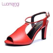 洛曼琪新款女鞋 性感超高跟细跟搭扣鱼嘴休闲女凉鞋723001