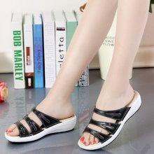 OKKO女夏季拖鞋女士一字拖凉鞋女鞋真皮室外坡跟时尚凉拖鞋女厚底X858-2