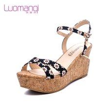 洛曼琪夏新款女鞋 松糕厚底坡跟防水台碎花高跟女凉鞋723034