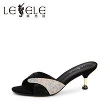 LESELE/莱思丽夏季新款水钻羊京女鞋 细跟一字型鞋高跟凉拖女KE71-LB3043