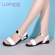洛曼琪夏新款女鞋简约金属亮片平底低跟露趾休闲女凉鞋723027