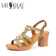 LESELE/莱思丽新款夏季牛皮女鞋 露趾粗跟鞋搭扣粗高跟凉鞋女GEH71-LB0195
