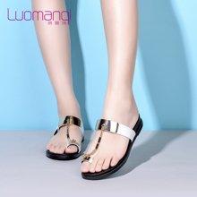 洛曼琪夏新款女鞋 平底低跟金属亮片链子套趾女拖鞋子723029