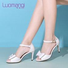 洛曼琪夏新款女鞋优雅细跟超高跟后包蝴蝶结女鱼嘴凉鞋723052