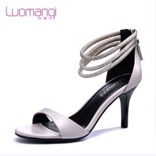 洛曼琪春夏新款女鞋水钻一字扣休闲露趾高跟细跟女凉鞋723015