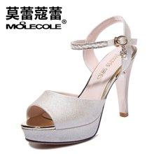 莫蕾蔻蕾2018新款浅口纯色高跟凉鞋水钻系带防水台女鞋 70182