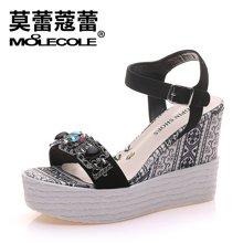 莫蕾蔻蕾2017新款水钻一字带厚底坡跟凉鞋时尚防水台女鞋 71226