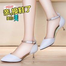 莱卡金顿 新款夏季性感包头中跟凉鞋女士一字带夏天舒适显瘦细跟女鞋子 LK/6243
