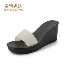东帝名坊2018夏季新款凉鞋女高跟凉拖鞋时尚坡跟外穿休闲简约百搭女鞋YD817