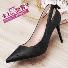 百年纪念 鞋子新款时尚女鞋高跟鞋细跟尖头性感百搭浅口单鞋 bn/1436