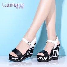 洛曼琪新款女鞋 休闲松糕跟厚底露趾超高跟坡跟女凉鞋韩版通勤723003