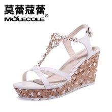 莫蕾蔻蕾2017新款淑女坡跟凉鞋镂空花朵系带罗马女鞋 70120