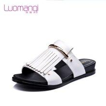 洛曼琪夏新款女鞋 流苏平底低跟休闲韩版女凉拖女拖鞋723028