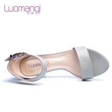 洛曼琪夏新款女鞋 优雅粗跟高跟一字扣露趾罗马女凉鞋723051
