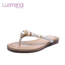 洛曼琪夏新款女鞋 水钻夹趾平底平跟人字拖凉拖女拖鞋723047
