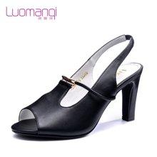 洛曼琪夏新款女鞋 欧美优雅超高跟细跟职业鱼嘴女凉鞋723002