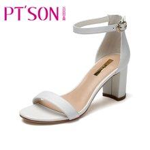 百田森 PYQ17377 新款高跟鞋女鞋夏季韩版百搭一字带粗跟凉鞋女