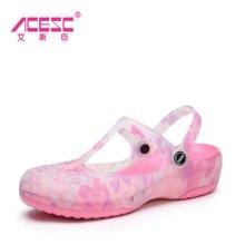 艾斯臣 2017夏季新款洞洞鞋女印花玛丽珍沙滩鞋舒适透气花园鞋子A15XLA771