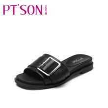 百田森 PYQ17370 新款平底拖鞋女夏时尚百搭方扣外穿一字拖女鞋