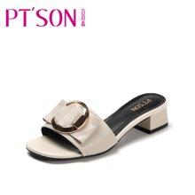 百田森 PYQ17368 新款凉拖鞋女夏时尚中跟外穿百搭韩版一字拖鞋