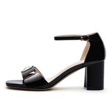雅诗莱雅 新款粗跟凉鞋女士夏季中跟气质优雅学生韩版百搭公主高跟鞋子 YS/62525