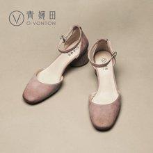 青婉田新款凉鞋女一字扣浅口单鞋女复古方头真皮中跟粗跟女鞋子V17CD0470