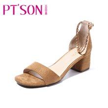 百田森 PYQD8331新款夏季一字带凉鞋女夏中跟高跟鞋百搭粗跟夏天女鞋子