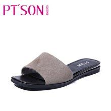 百田森 PYQD8311新款马毛拖鞋女夏时尚平底外穿个性韩版平跟凉拖