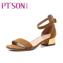 百田森 PYQD8330新款一字带凉鞋女夏粗跟中跟性感夏季舒适女鞋子