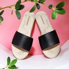 古奇天伦 圆头坡跟拖鞋2018夏季新款拼色女鞋一字型凉鞋 TL/8824
