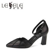 LESELE/莱思丽夏季新款女单鞋 高跟鞋包头一字扣带粗跟凉鞋女KE81-LE4306