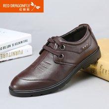 红蜻蜓真皮男单鞋真皮系带日常休闲皮鞋男鞋5667