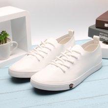 100KM&PF新款 纯色休闲低帮潮流简约时尚男款PU板鞋KCB605