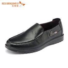 红蜻蜓男鞋 套脚休闲皮鞋子商务男单鞋 6102