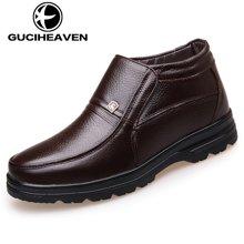 古奇天伦冬季款头层牛皮商务休闲皮靴高帮加绒正装男皮鞋爸爸棉靴 6827