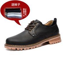 [买一赠一]古奇天伦2017新款男工装鞋时尚休闲鞋牛皮男皮鞋 GH809