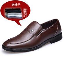 [买一赠一]古奇天伦2017新款男士商务休闲皮鞋透气套脚正装鞋 6817