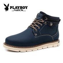 playboy花花公子男鞋马丁靴鞋子休闲短靴高帮男靴冬季皮靴高邦工装靴CX37134