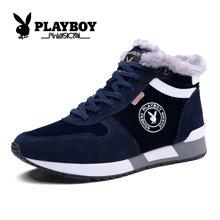 花花公子男鞋高帮板鞋冬季保暖运动休闲鞋反绒皮加绒棉鞋靴跑步鞋CX37132M
