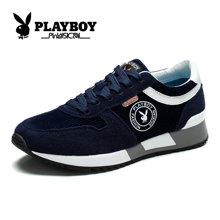 花花公子男鞋秋季运动跑鞋帆布鞋牛反绒休闲板鞋情侣鞋增高跑步鞋子CX37099