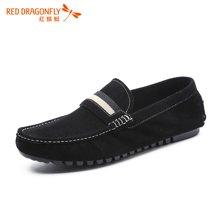 红蜻蜓休闲男鞋 牛反绒皮舒适透气潮鞋男士豆豆鞋6255
