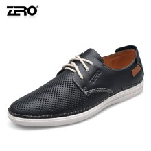 Zero零度镂空皮鞋夏季透气打孔男鞋时尚潮流软底男士休闲皮鞋98376