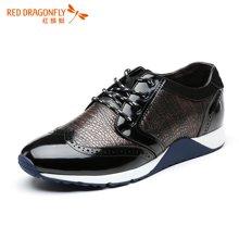 红蜻蜓男鞋 系带舒适时尚压花运动休闲鞋男鞋6142