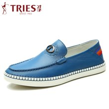 TRiES/才子男鞋夏季新款厚底时尚休闲皮鞋懒人蹬一脚套男士潮驾车鞋G04C3307