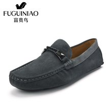 富贵鸟(FUGUINIAO)富贵鸟男鞋 时尚套脚休闲鞋男士豆豆鞋驾车鞋反绒皮男鞋 S608003